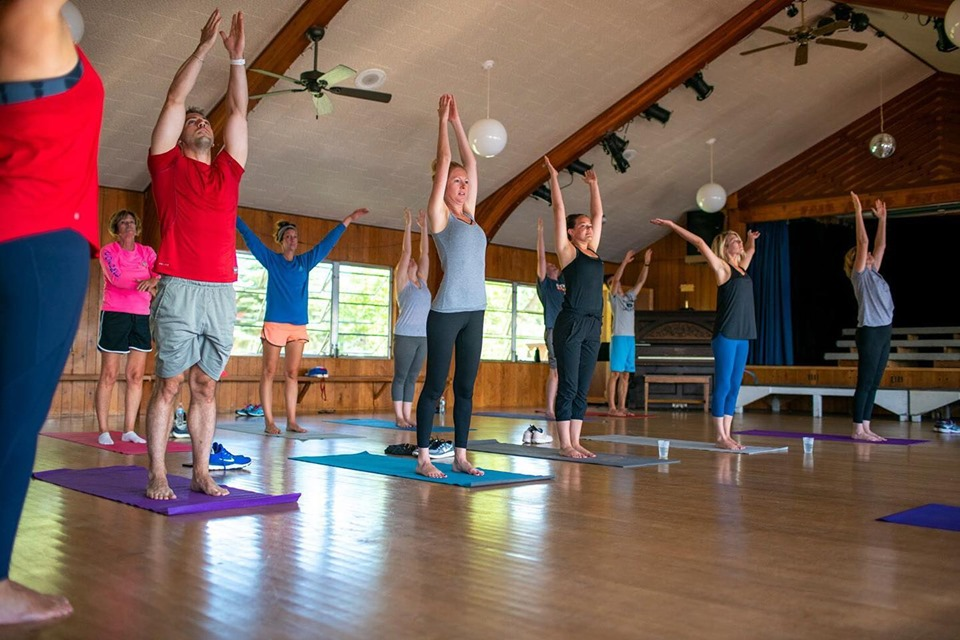 yoga class in the pavilion